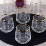 Pinkev 6 Adet Altın Yaldızlı Desenli Cam Su Bardağı - Bardak Seti Takımı (Pe-5662A) K02