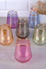 6 Renk Lüster Altın Yaldızlı 6 Adet Su Bardak Takımı