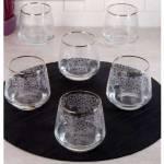 Pinkev 6 Adet Altın - Gümüş Yaldızlı Desenli Cam Su Viski Bardağı Bardak Seti Takımı Pe-5662P N01