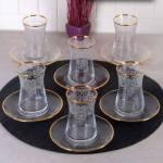 Pinkev 12 Parça Altın Yaldızlı - Desenli Cam Çay Bardağı Bardak Seti Takımı (Pe-5664A) P04