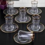 Pinkev 12 Parça Altın Yaldızlı Cam Çay Bardağı Bardak Seti Takımı (Pe-6332A) K02