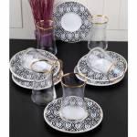 Pinkev 12 Parça Altın Yaldızlı Seramik Tabaklı Cam Çay Bardağı Bardak Seti Takımı (Pe-6359K) R01