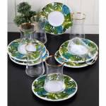 Pinkev 12 Parça Altın Yaldızlı Seramik Tabaklı Cam Çay Bardağı Bardak Seti Takımı (Pe-6390) K01