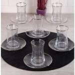Pinkev 12 Parça Gümüş Yaldızlı - Desenli Cam Çay Bardağı Bardak Seti Takımı (Pe-5664P) P03